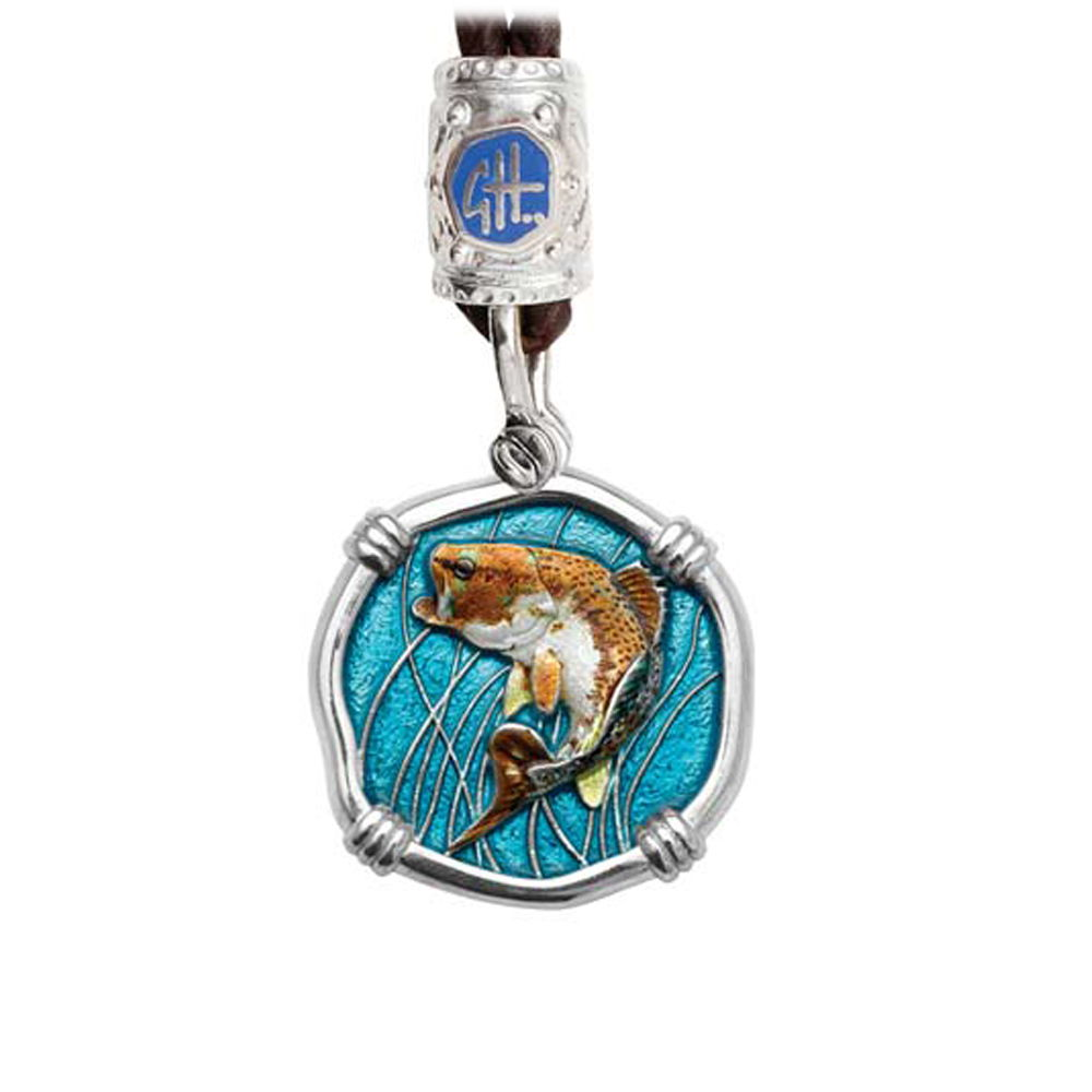 Guy Harvey Bass on Black Leather Bolo Necklace Full Color Enamel Bright Finish 25mm Sterling Silver