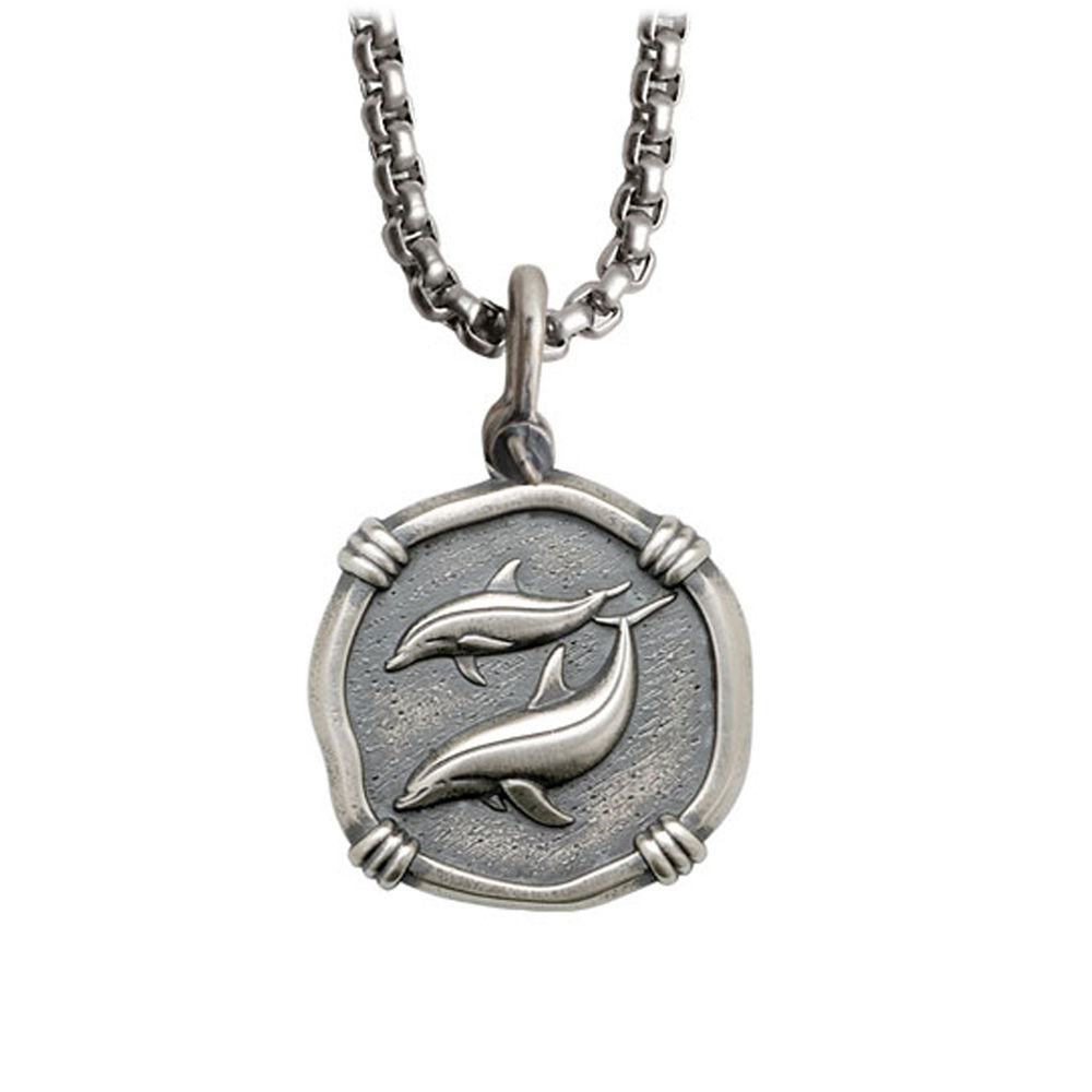 Guy Harvey Medium size Sterling Silver Porpoises Necklace with Stainless Steel Box Chain