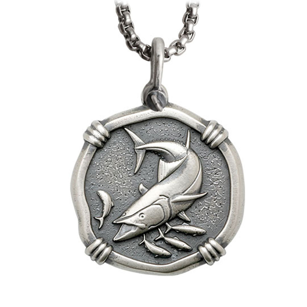 Guy Harvey Large Size Sterling Silver King Mackerel Necklace with Stainless Steel Box Chain