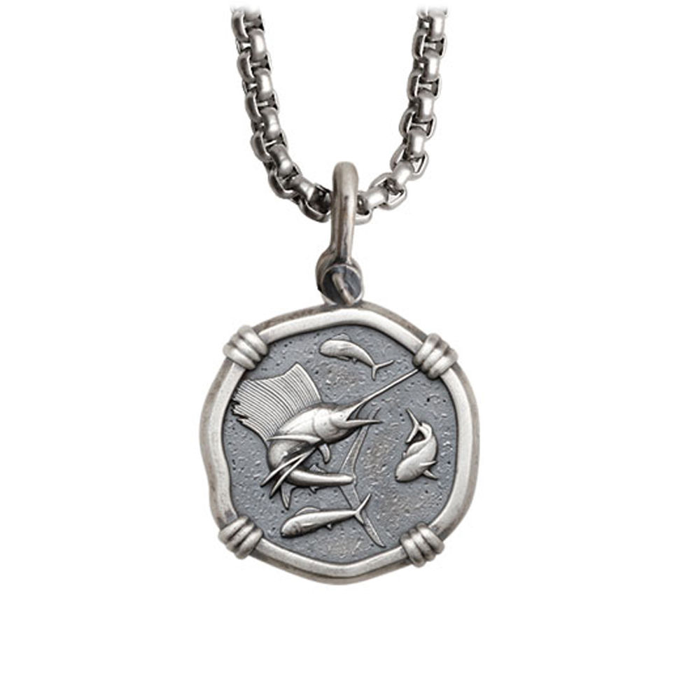 Guy Harvey Medium size Sterling Silver Sailfish Necklace with Stainless Steel Box Chain