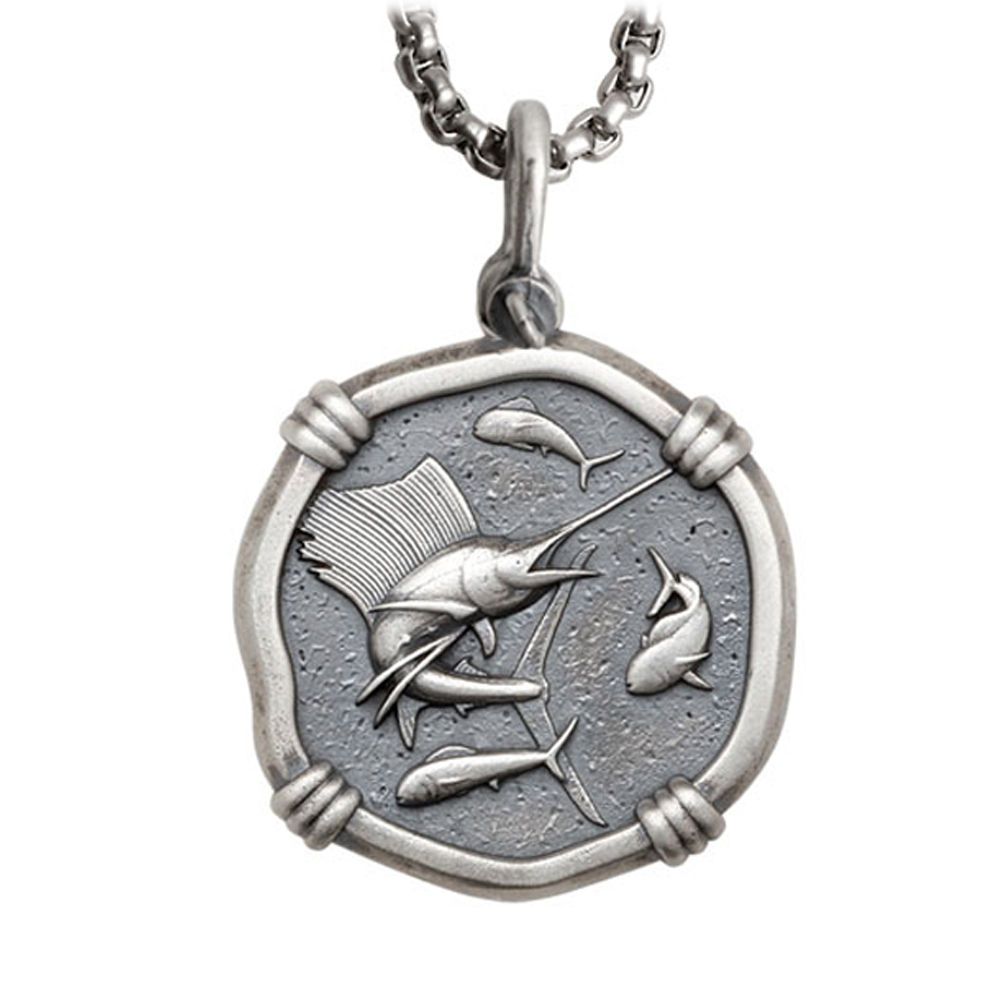 Guy Harvey Large Size Sterling Silver Sailfish Necklace with Stainless Steel Box Chain