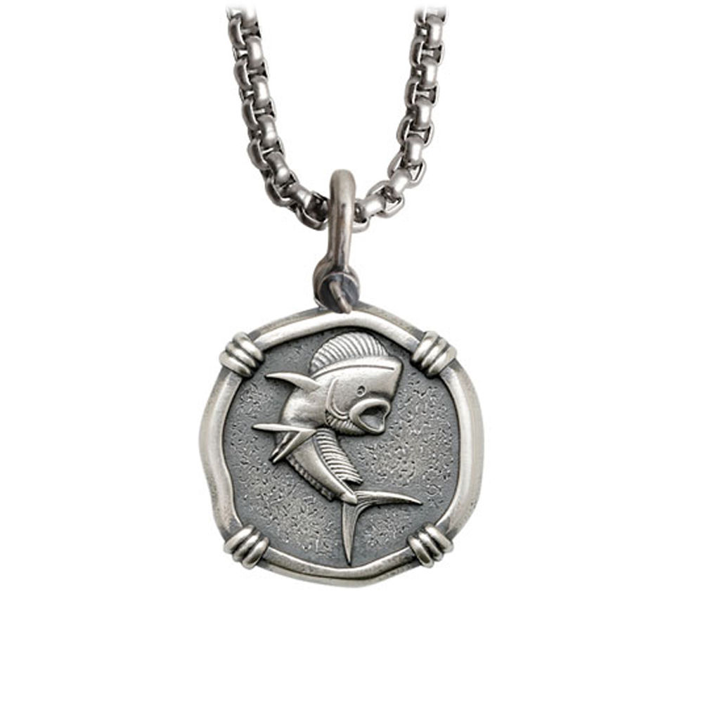 Guy Harvey Medium size Sterling Silver Dolphin Necklace with Stainless Steel Box Chain