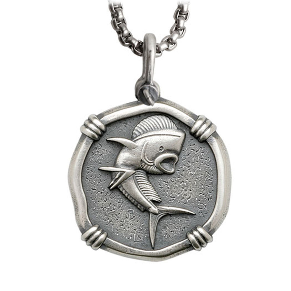 Guy Harvey Large Size Sterling Silver Dolphin Necklace with Stainless Steel Box Chain