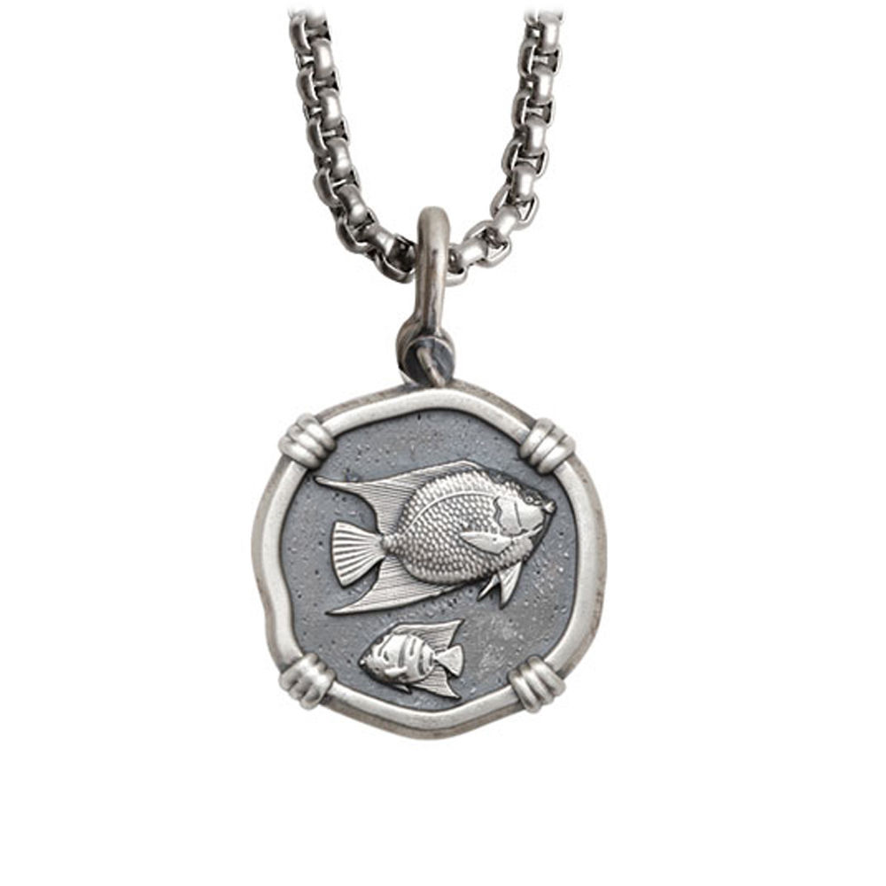 Guy Harvey Medium size Sterling Silver Angelfish Necklace with Stainless Steel Box Chain
