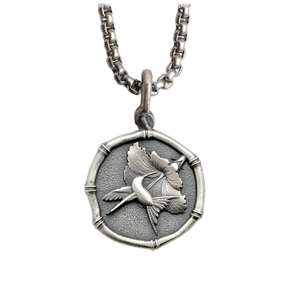 Guy Harvey Medium size Sterling Silver Hummingbird Necklace with Stainless Steel Box Chain