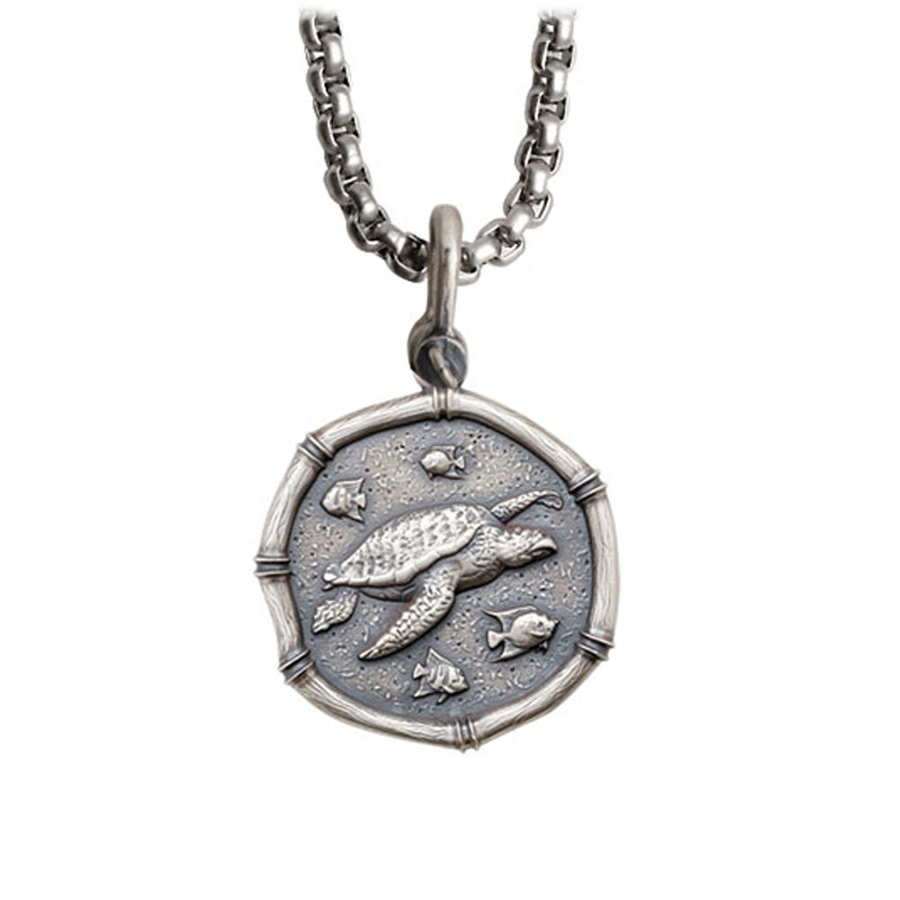 Guy Harvey Medium size Sterling Silver Sea Turtles Necklace with Stainless Steel Box Chain