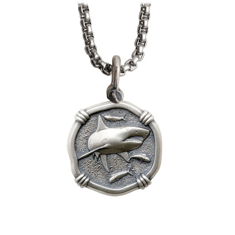 Guy Harvey Medium size Sterling Silver Shark Necklace with Stainless Steel Box Chain