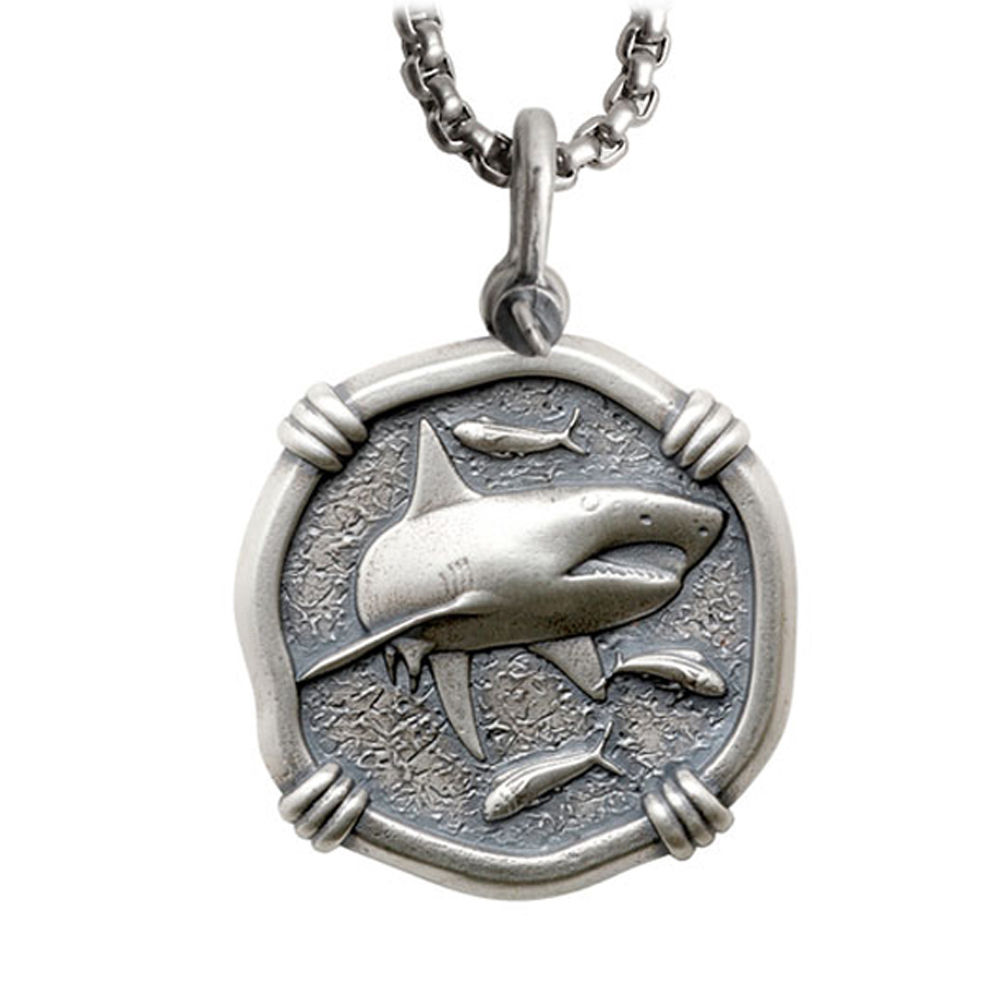 Guy Harvey Large Size Sterling Silver Shark Necklace with Stainless Steel Box Chain