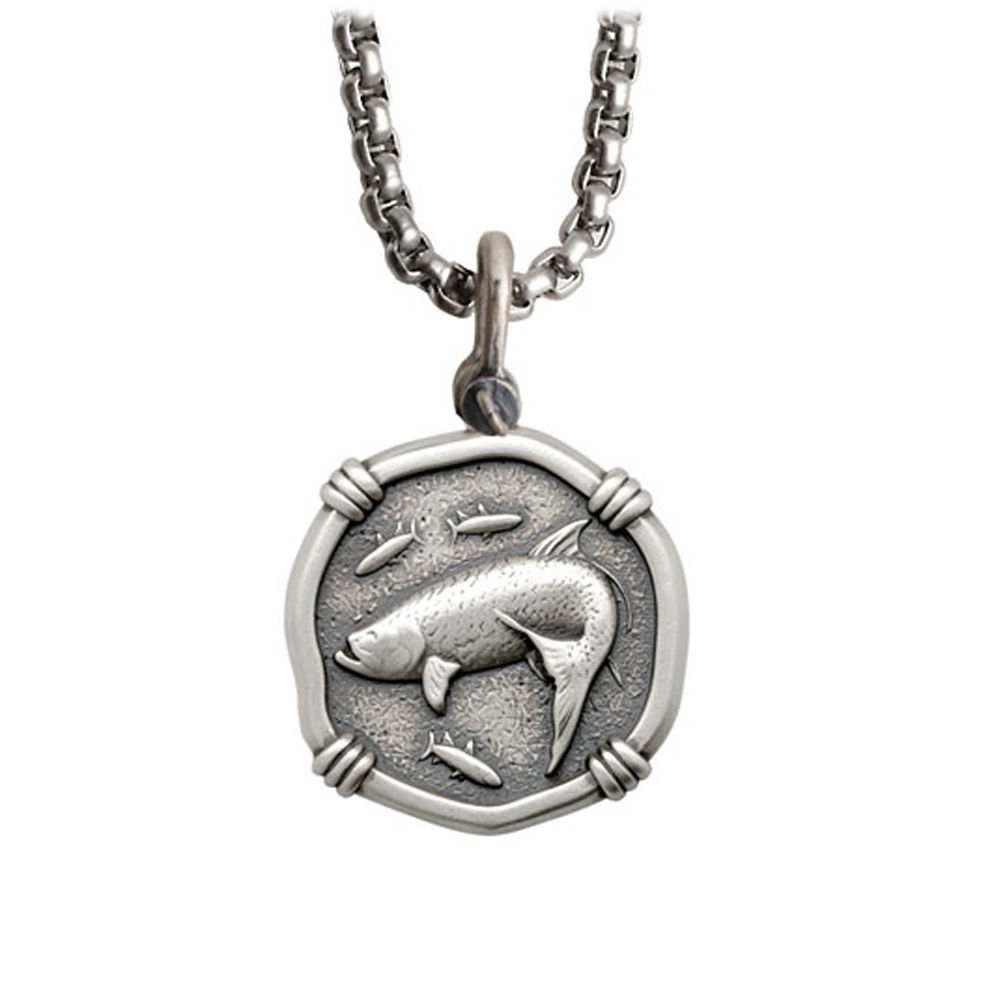 Guy Harvey Medium size Sterling Silver Tarpon Necklace with Stainless Steel Box Chain