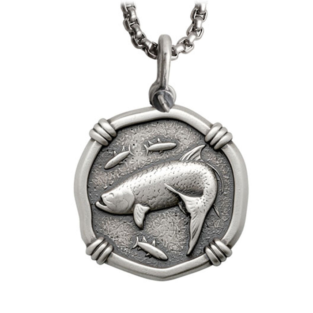 Guy Harvey Large Size Sterling Silver Tarpon Necklace with Stainless Steel Box Chain