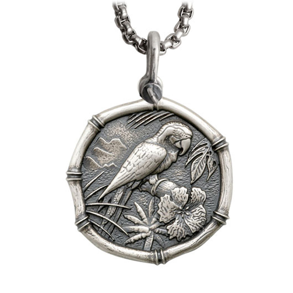 Guy Harvey Large Size Sterling Silver Macaw Necklace with Stainless Steel Box Chain