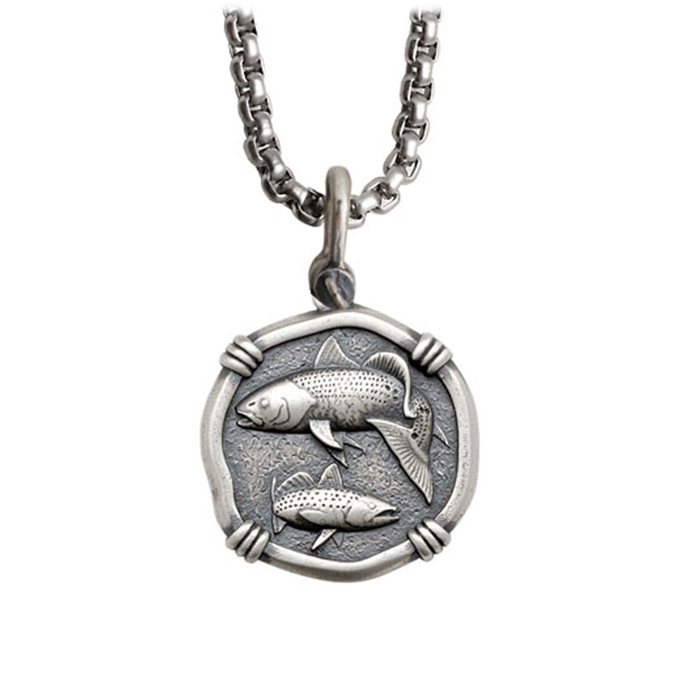 Guy Harvey Medium size Sterling Silver Redfish & Trout Necklace with Stainless Steel Box Chain