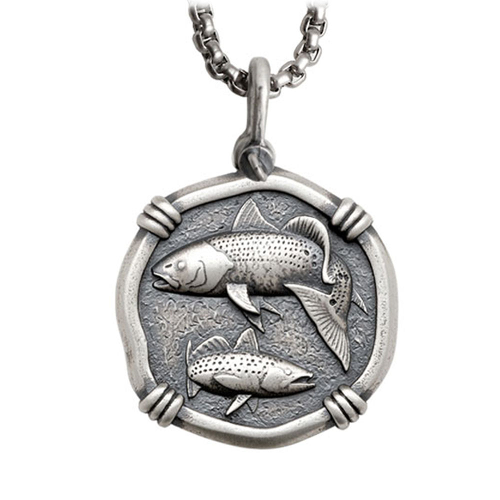 Guy Harvey Large Size Sterling Silver Redfish & Trout Necklace with Stainless Steel Box Chain