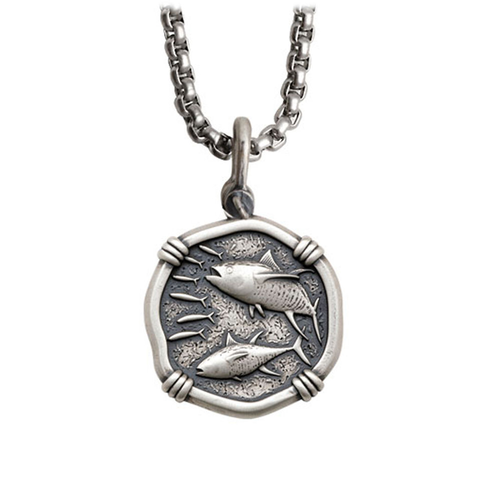 Guy Harvey Medium size Sterling Silver Tuna Necklace with Stainless Steel Box Chain