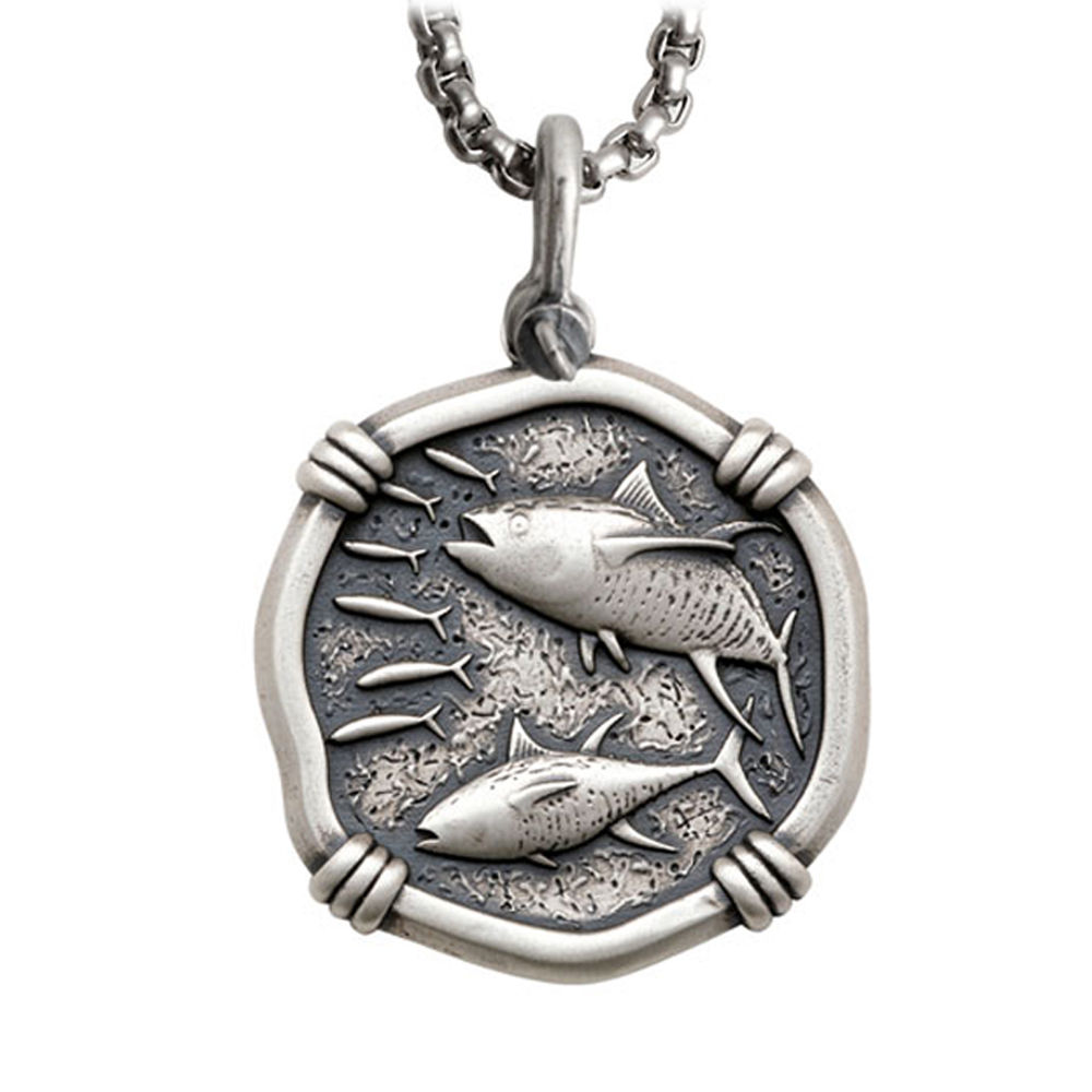 Guy Harvey Large Size Sterling Silver Tuna Necklace with Stainless Steel Box Chain