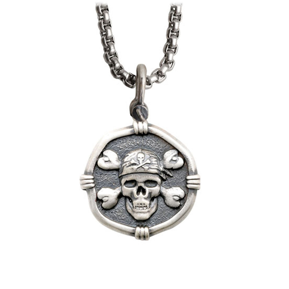 Guy Harvey Medium size Sterling Silver Pirate Necklace with Stainless Steel Box Chain
