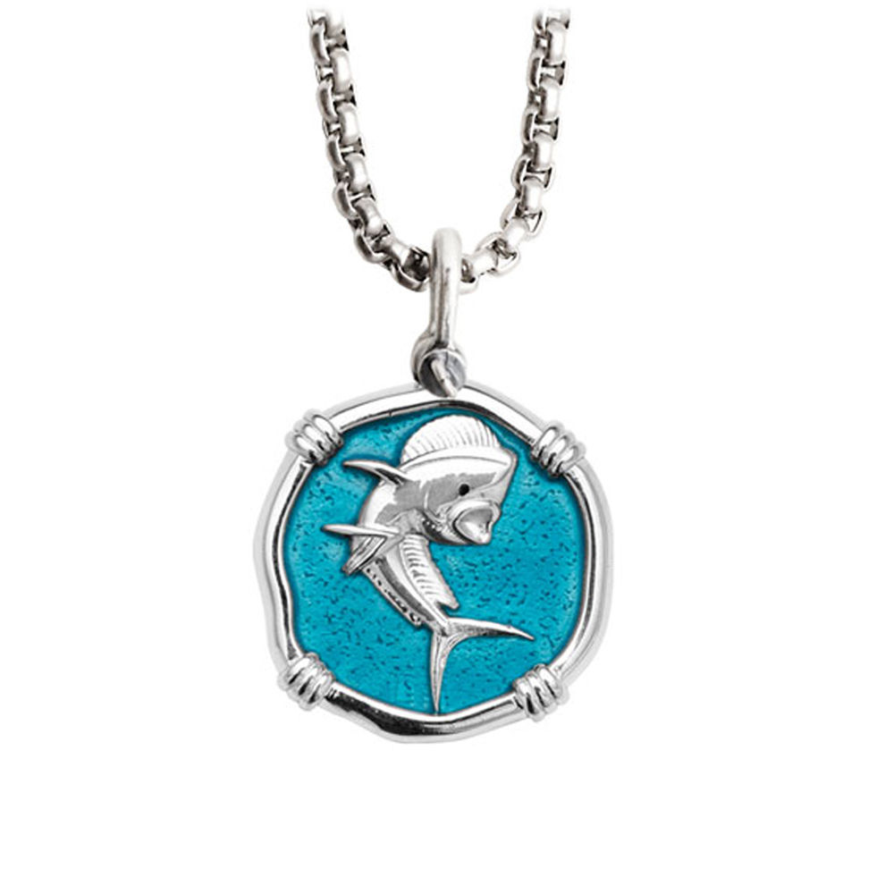 Guy Harvey Medium Cayman Green enameled Sterling Silver Dolphin Necklace - Stainless Steel Box Chain