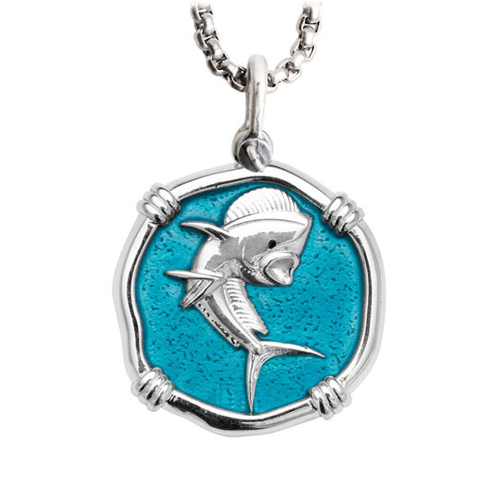 Guy Harvey Large size Dolphin Cayman Green enameled Sterling Silver Necklace - Stainless Steel Chain