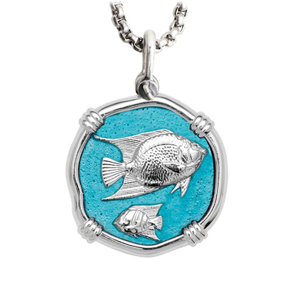 Guy Harvey Large Angelfish Cayman Green Enamel and Sterling Silver Necklace - Stainless Steel Chain
