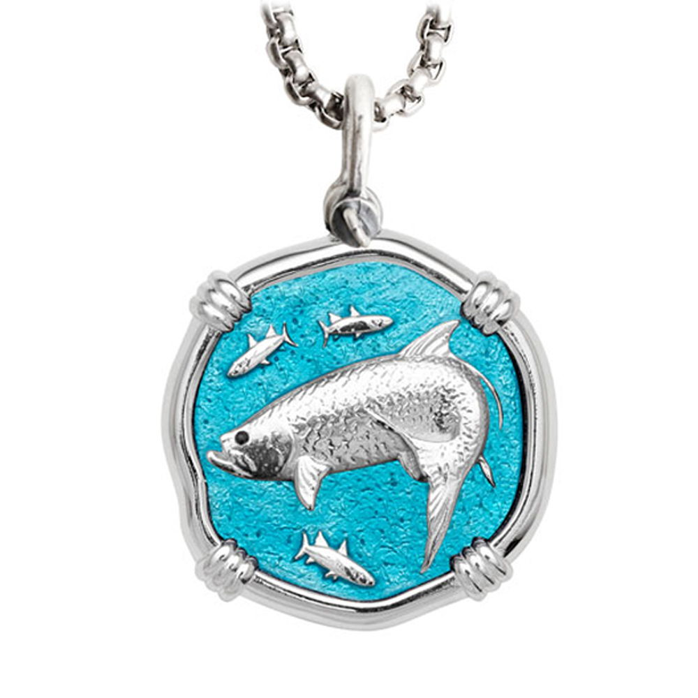Guy Harvey Large Size Tarpon Cayman Green Enameled Sterling Silver Necklace - Stainless Steel Chain