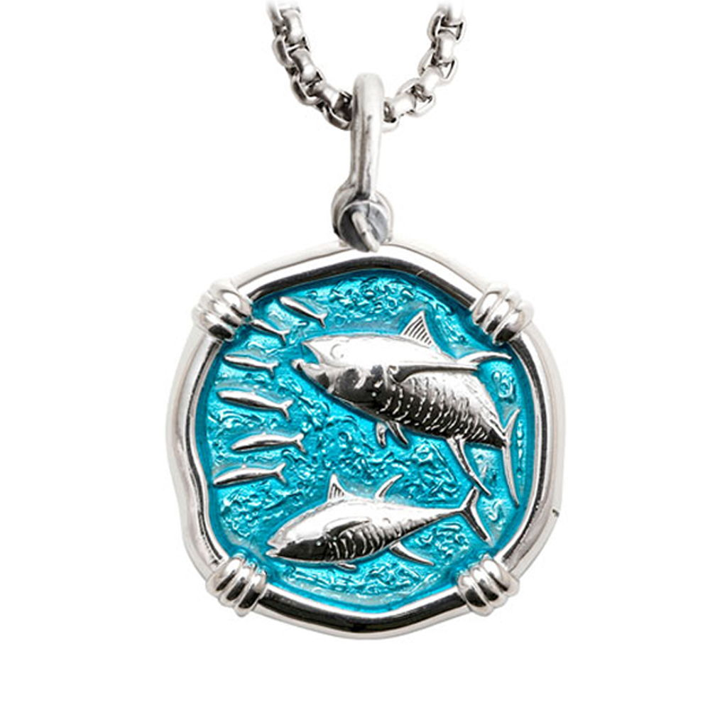 Guy Harvey Large Tuna Cayman Green Enameled Sterling Silver Necklace with Stainless Steel Box Chain