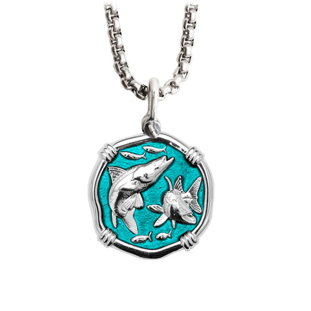 Guy Harvey Medium size Cayman Green enameled Sterling Silver Snook Necklace - Stainless Steel Chain