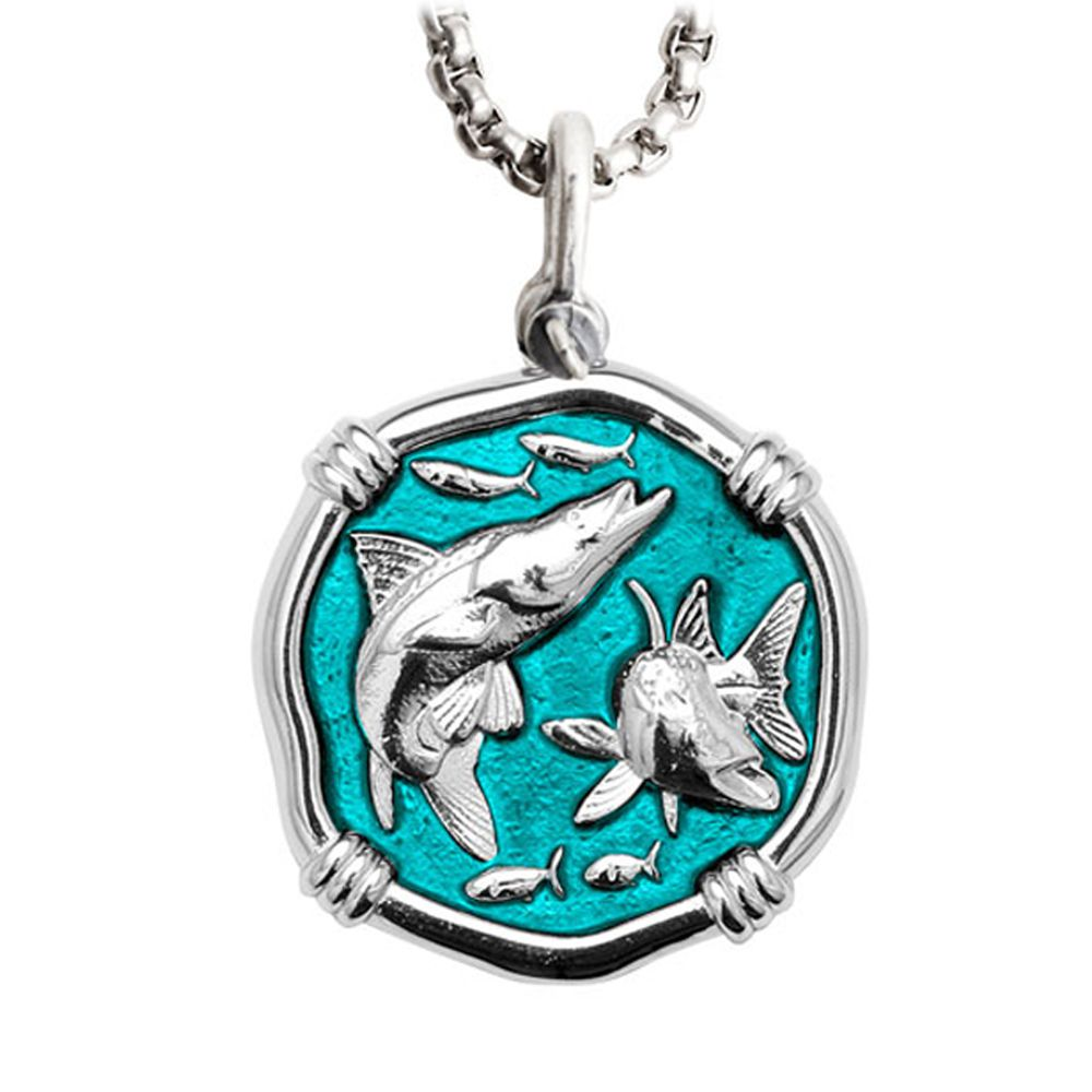 Guy Harvey Large Snook Cayman Green enameled Sterling Silver Necklace with Stainless Steel Chain