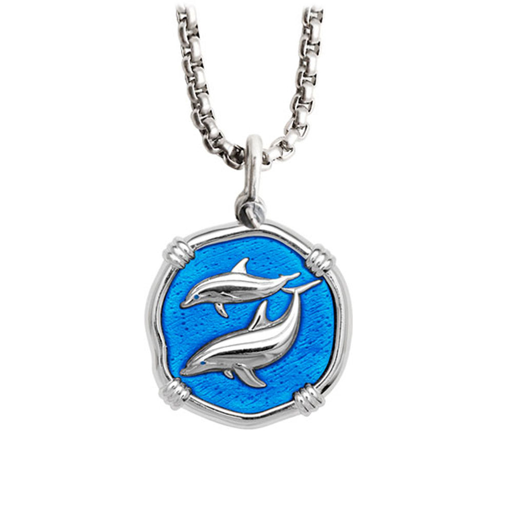 Guy Harvey Medium Caribbean Blue Enamel Sterling Silver Porpoise Necklace - Stainless Steel Chain
