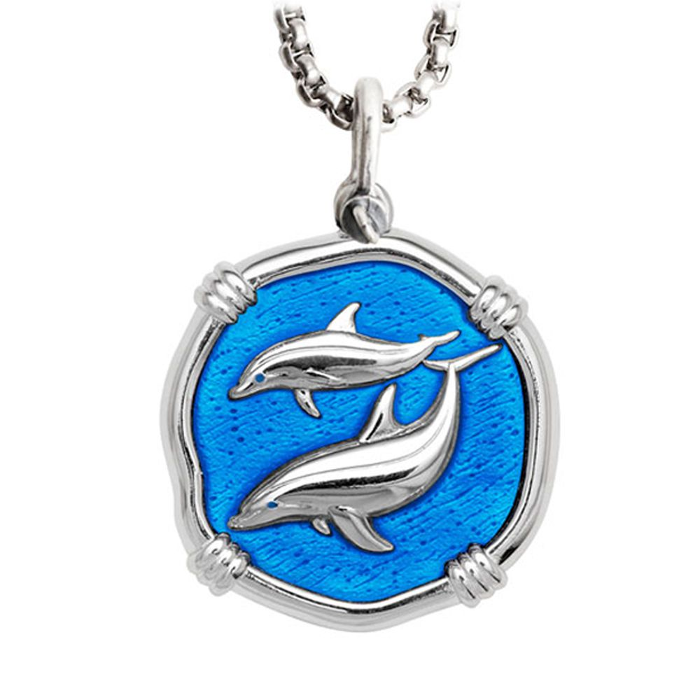 Guy Harvey Large Porpoise Caribbean Blue Enameled Sterling Silver Necklace - Stainless Steel Chain