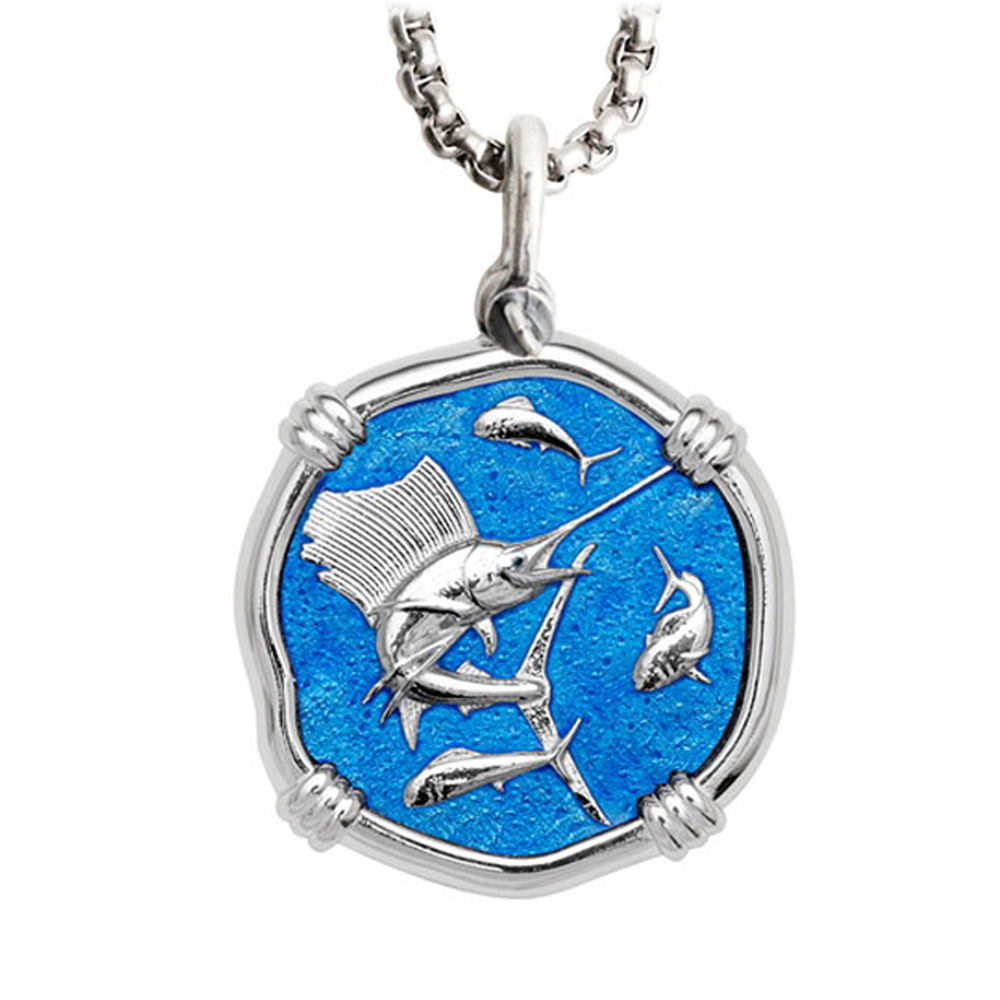 Guy Harvey Large Sailfish Caribbean Blue Enamel Sterling Silver Necklace - Stainless Steel Chain