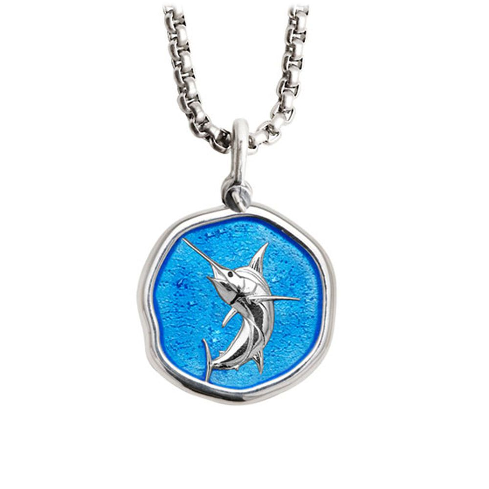 Guy Harvey Medium Caribbean Blue enameled Sterling Silver Marlin Necklace - Stainless Steel Chain