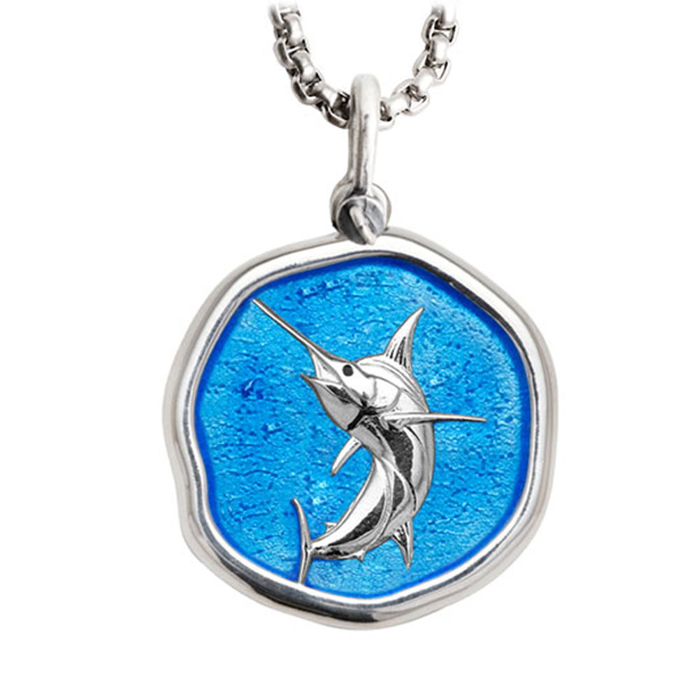 Guy Harvey Large Marlin Caribbean Blue Enameled Sterling Silver Necklace - Stainless Steel Chain