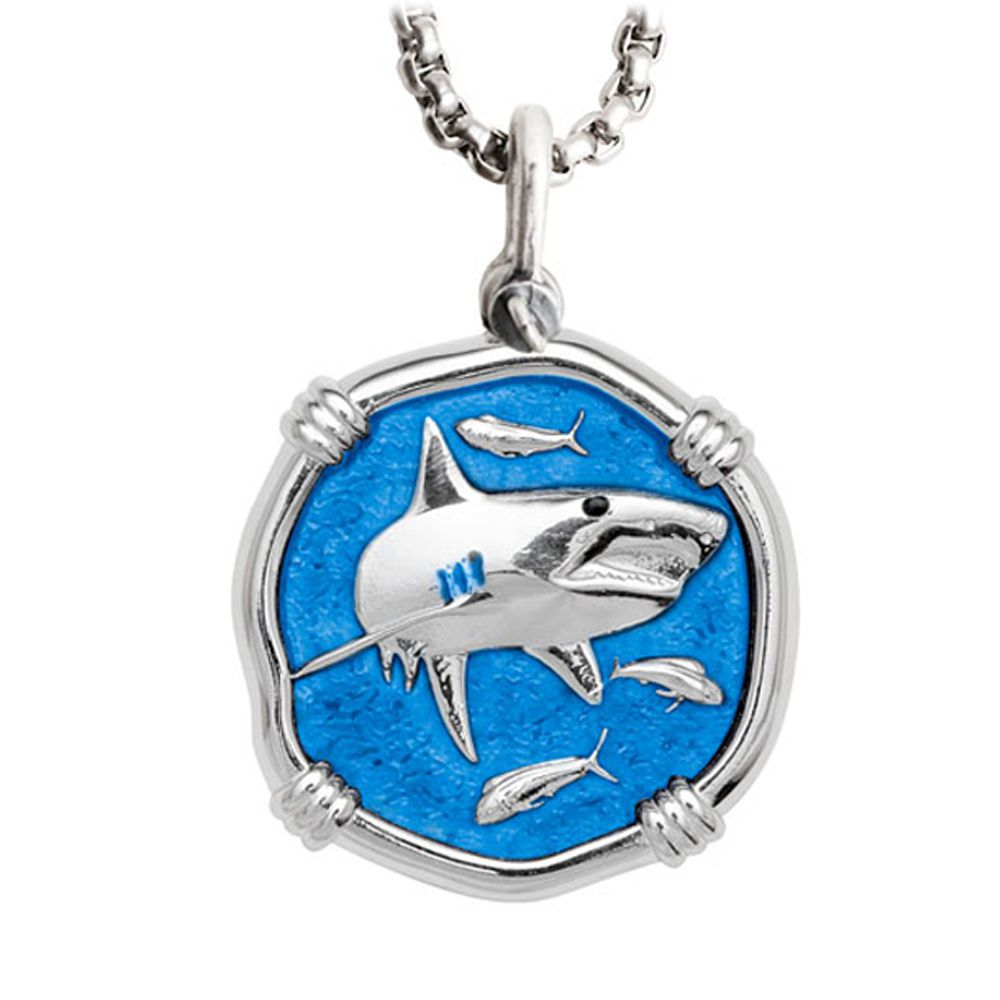 Guy Harvey Large Shark Caribbean Blue Enamel Sterling Silver Necklace - Stainless Steel Box Chain