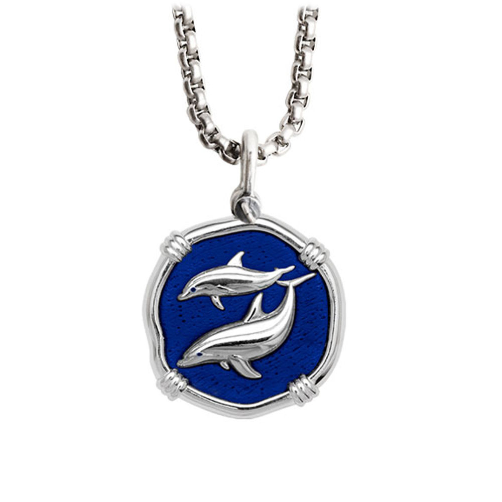 Guy Harvey Medium Gulf Stream Blue Enamel Sterling Silver Porpoises Necklace - Stainless Steel Chain