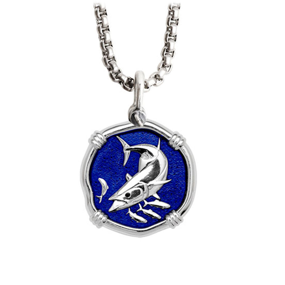 Guy Harvey Medium King Mackerel Necklace Blue Enamel Sterling Silver - Stainless Steel Chain
