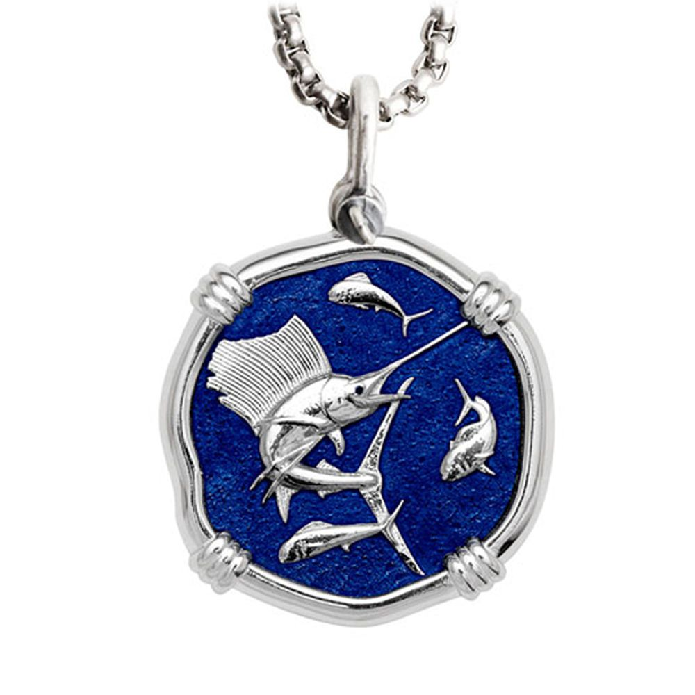 Guy Harvey Large Sailfish Gulf Stream Blue Enamel Sterling Silver Necklace - Stainless Steel Chain