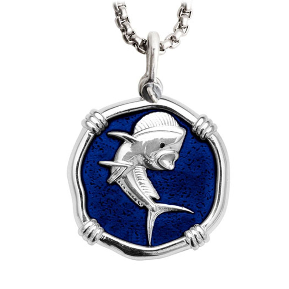 Guy Harvey Large Dolphin Gulf Stream Blue Enamel Sterling Silver Necklace - Stainless Steel Chain