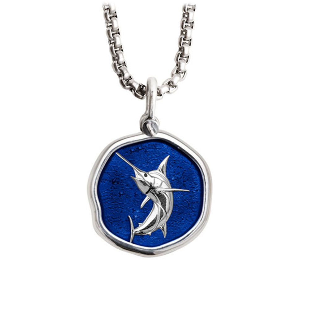 Guy Harvey Medium Gulf Stream Blue enameled Sterling Silver Marlin Necklace - Stainless Steel Chain