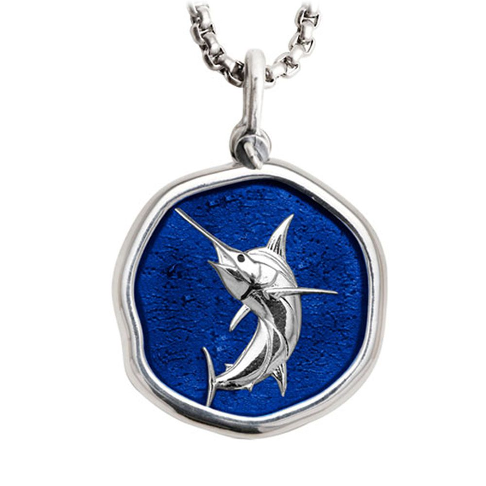 Guy Harvey Large Marlin Gulf Stream Blue Enameled Sterling Silver Necklace - Stainless Steel Chain