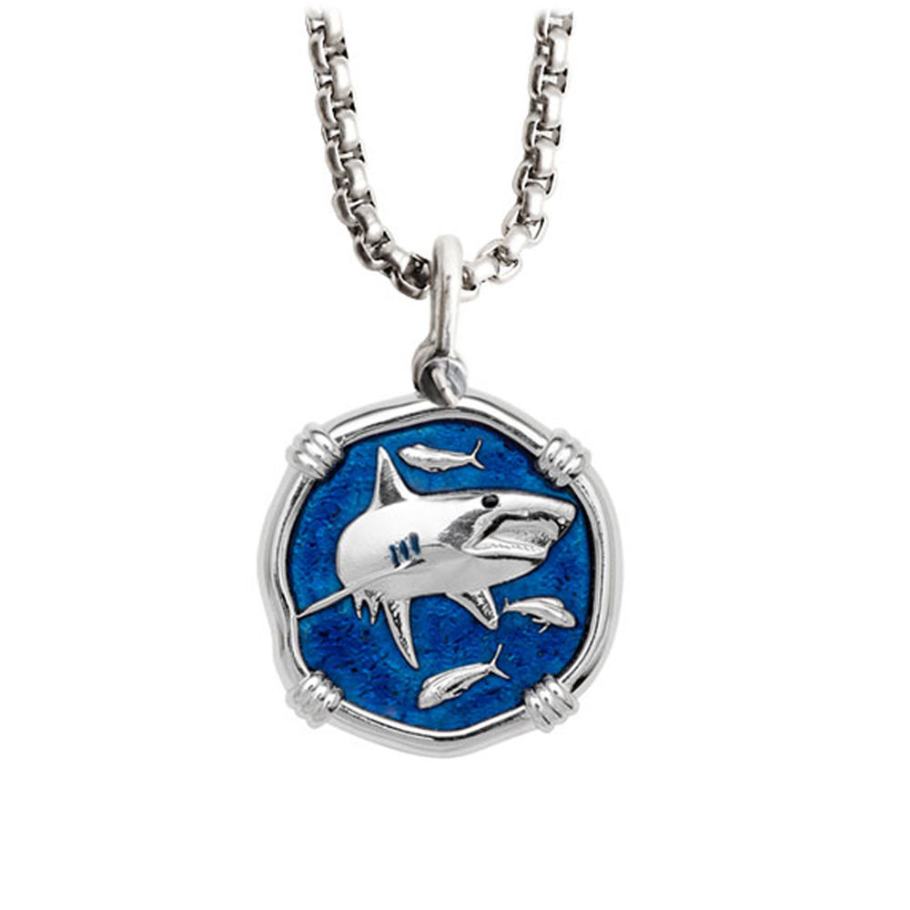Guy Harvey Medium Gulf Stream Blue enameled Sterling Silver Shark Necklace- Stainless Steel Chain