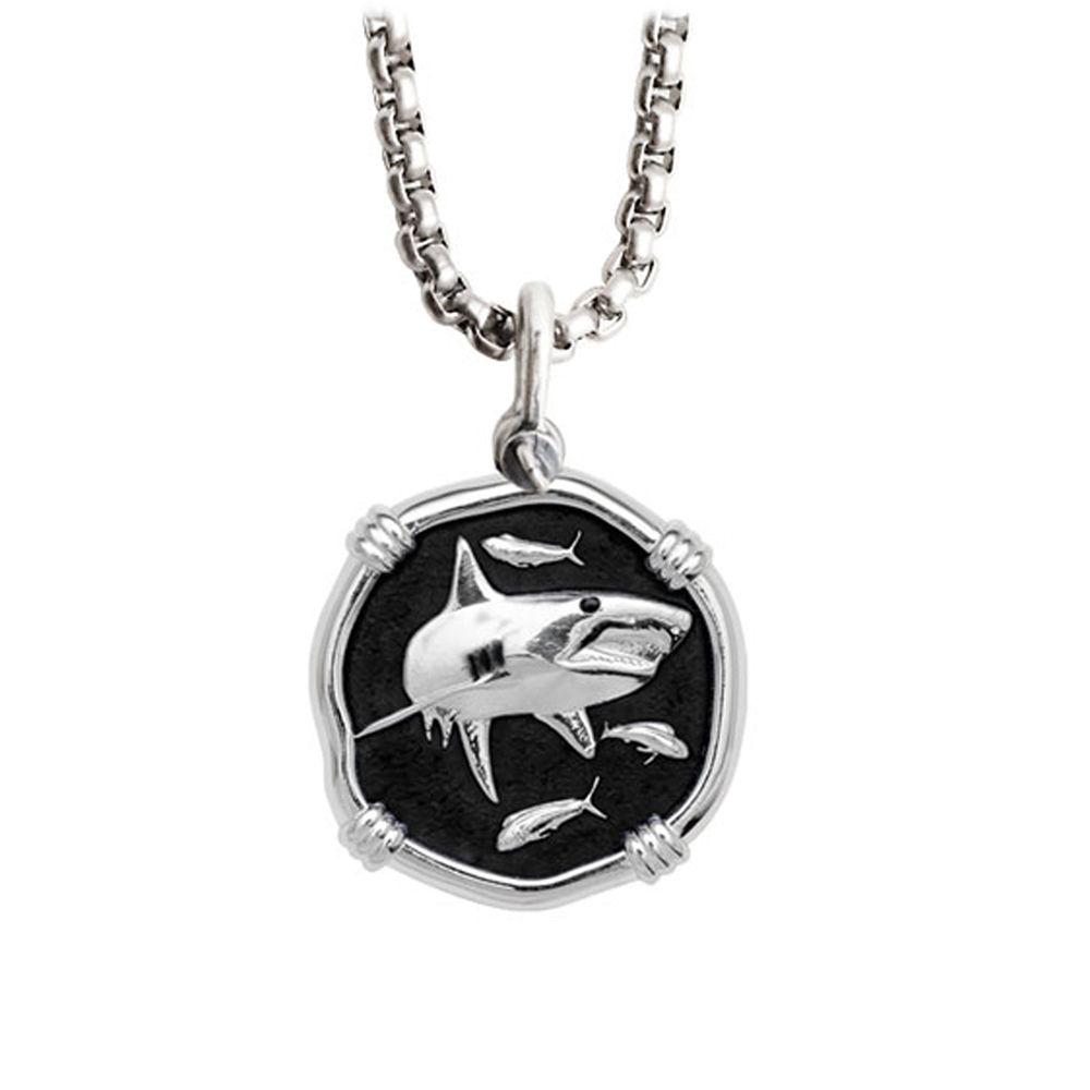 Guy Harvey Medium size Black enameled Sterling Silver Shark Necklace with Stainless Steel Box Chain