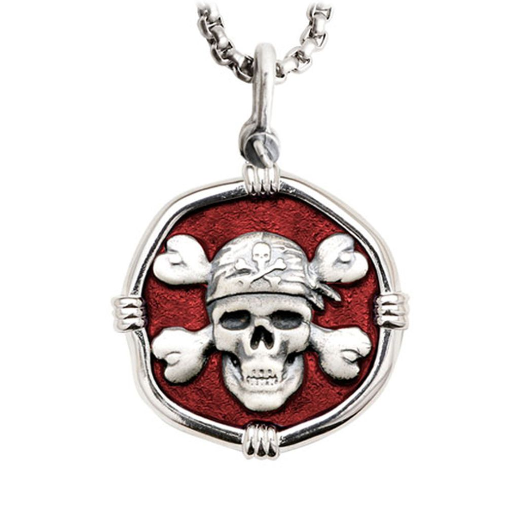 Guy Harvey Pirate Large Size Red Enameled Sterling Silver Necklace with Stainless Steel Box Chain