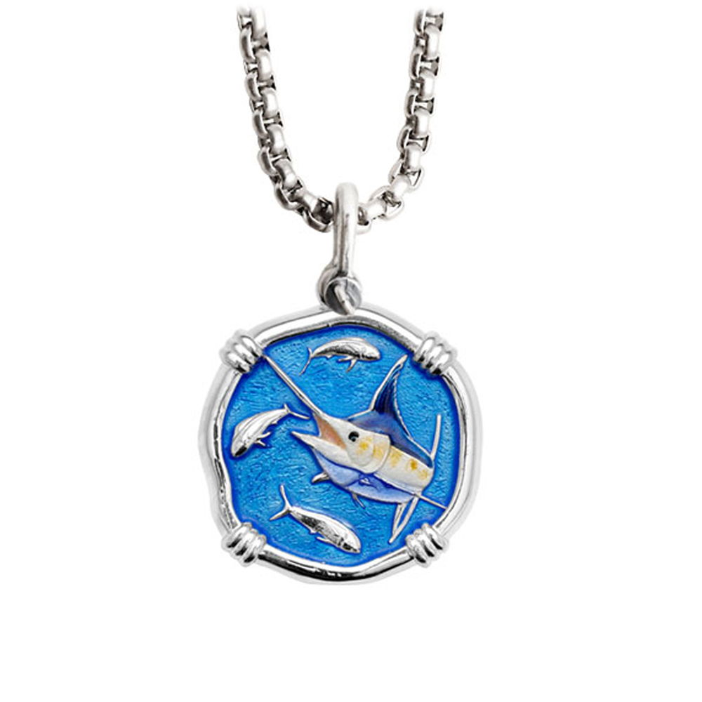 Blue Marlin Gamefish Necklace - Sterling Silver and Enamel Medallion with a Durable Box Chain