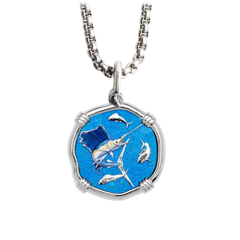 Guy Harvey Medium Full Color Enamel Sterling Silver Sailfish Necklace - Stainless Steel Box Chain