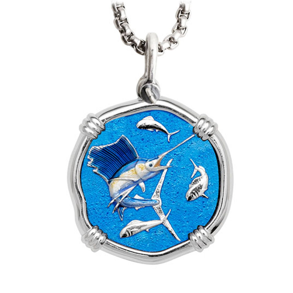 Guy Harvey Large Size Sailfish Full Color Enameled Sterling Silver Necklace - Stainless Steel Chain