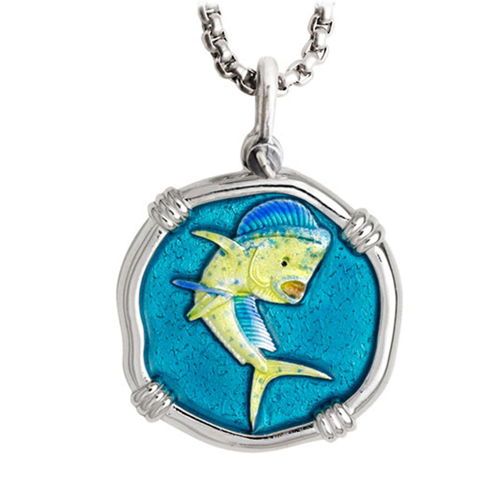 Large Size Dolphin Full Color Enameled Sterling Silver Necklace with Stainless Steel Box Chain