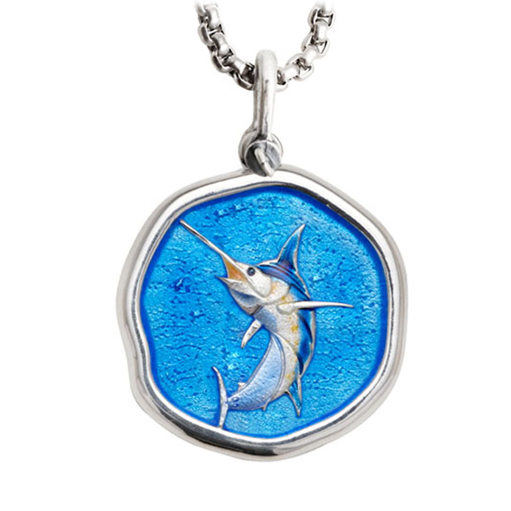 Large Size Marlin Full Color Enameled Sterling Silver Necklace with Stainless Steel Box Chain