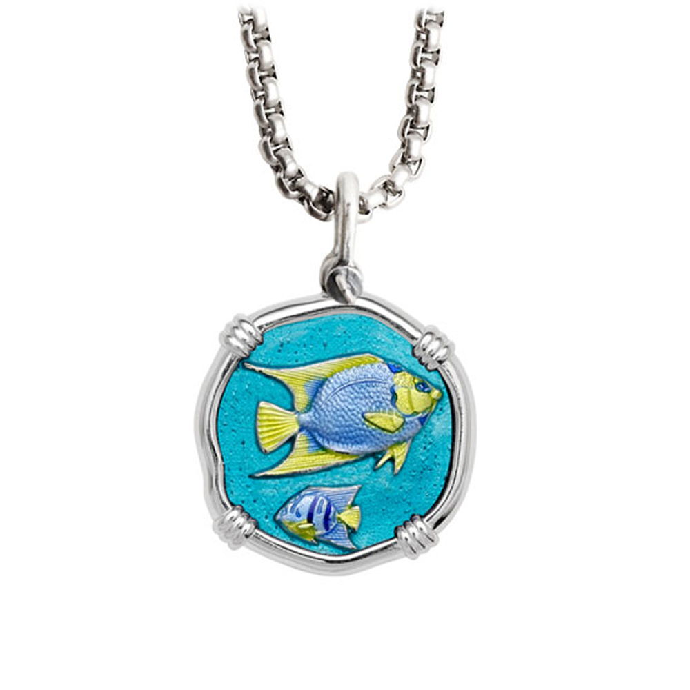 Guy Harvey Medium Full Color enameled Sterling Silver Angelfish Necklace - Stainless Steel Chain