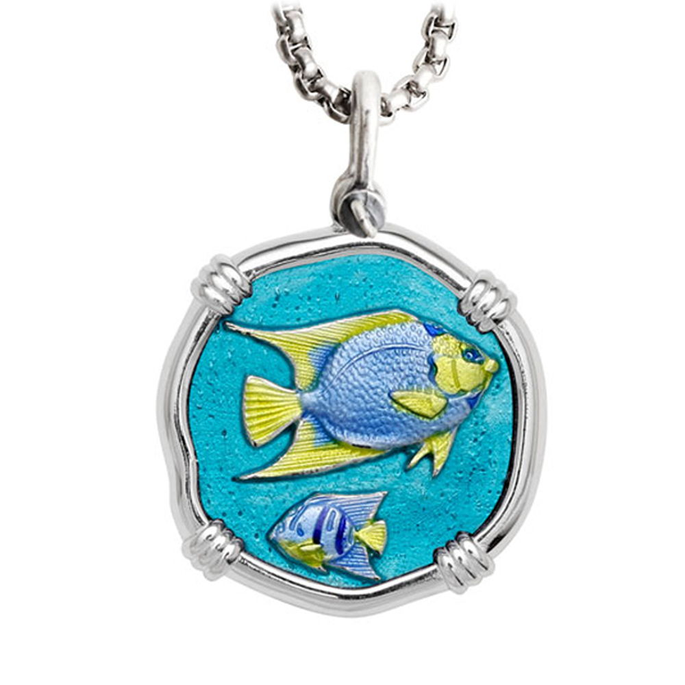 Guy Harvey Large Angelfish Full Color Enameled Sterling Silver Necklace - Stainless Steel Chain