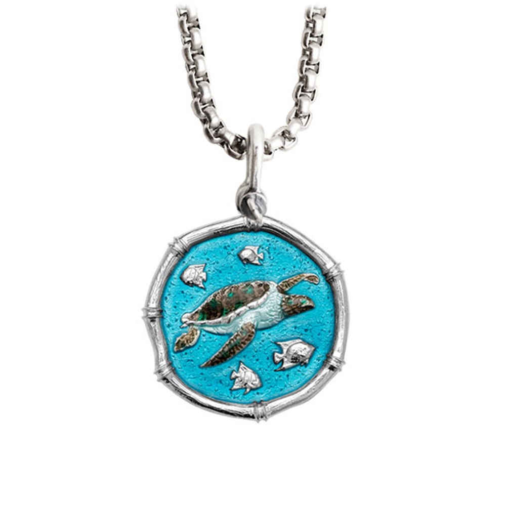 Guy Harvey Medium Full Color enameled Sterling Silver Sea Turtle Necklace - Stainless Steel Chain
